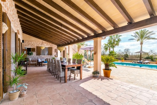 Large covered terrace and pool area