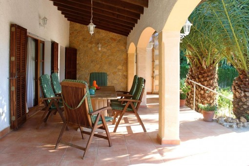 Comfortable seating area on the covered terrace
