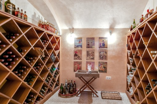 The wine celler creates a rustic atmosphere