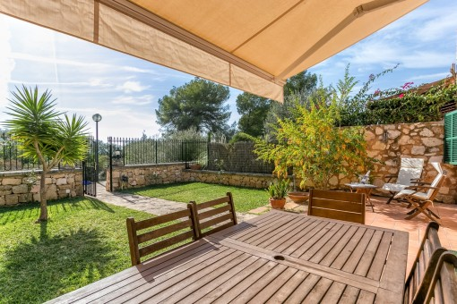 Idyllic terrace with dining area and own garden