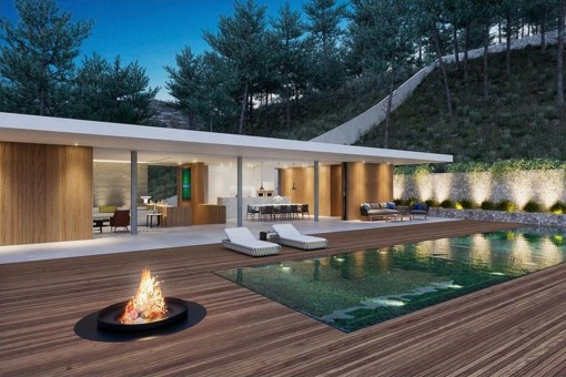 Fantastic outside area with fireplace, pool and cosy lounge area