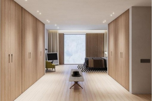 Capacious built-in wardrobes in the bedroom