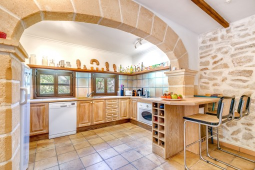 Spacious kitchen with dining area