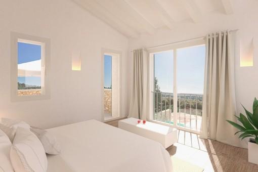 Cosy double bedroom with garden views
