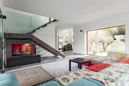 Great panoramic windows in the living area