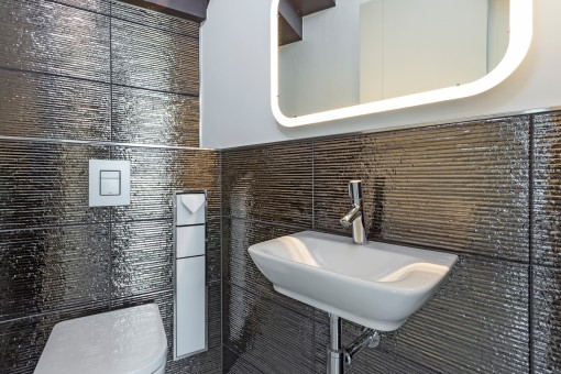 Extravagant, silver glimmering tiles