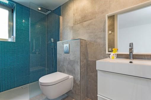 Children's bathroom with walk-in shower