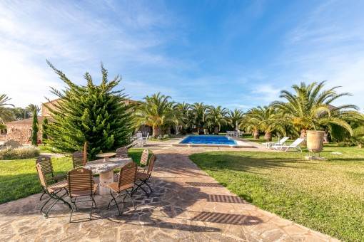 Gorgeous outside area with various terraces, garden and pool