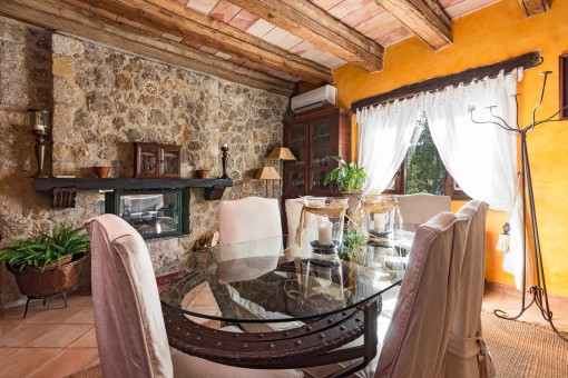 Dining area with extravagant dining table