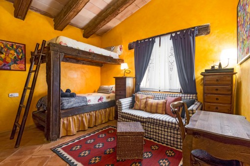 The massive, wooden beams were used to build a bed