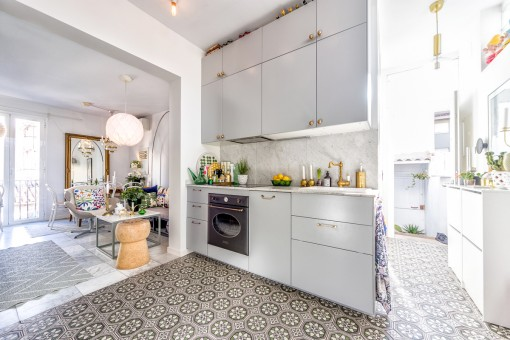 Spacious kitchen with mallorquin tiles
