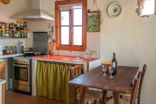 The kitchen is situated on the upper floor