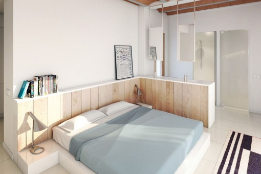 Cosy double bedroom with integrated bathroom