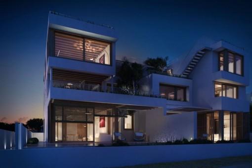 Exterior views of the luxury villa at night