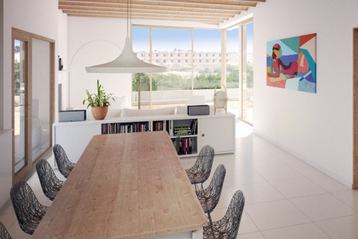 Bright living and dining area in the penthouse