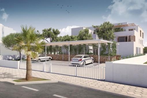 The villa offers a carport