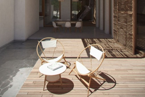 Seating area on the terrace of the ground floor apartment