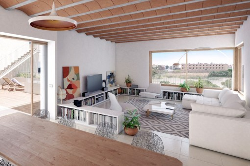 Fashionable living area with direct access to the terrace