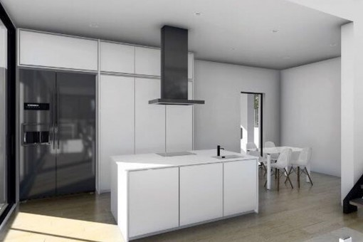 Stylish kitchen with cooking island