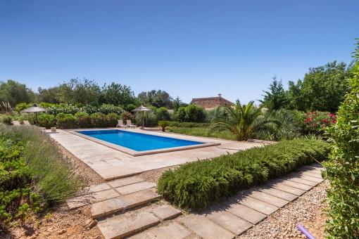 Idyllic pool area to relax