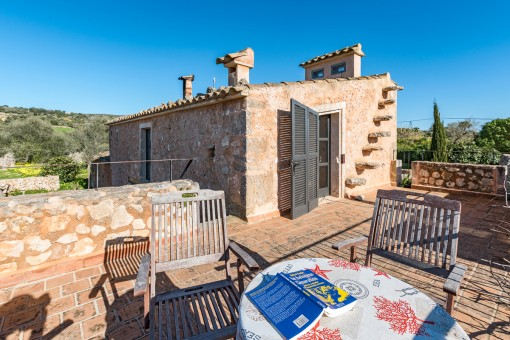 The finca has a number of charming terraces and seating areas