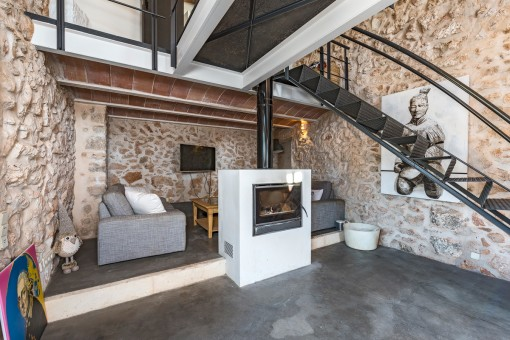 Generous living area with fireplace