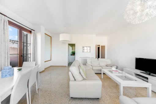 The comfortable living area offers access to the terrace