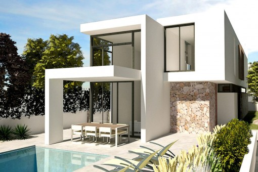 Modern villa with pool and majorcan details