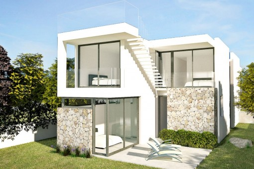 The villa stands on a flat plot of 585 sqm