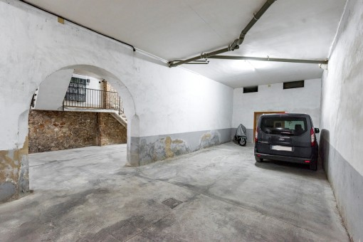 The apartment offers a garage