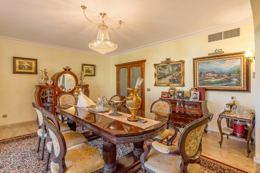 Dining area with antique furniture