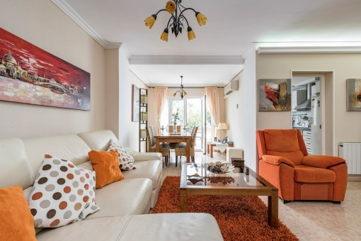 Beautiful living and dining area with terrace access