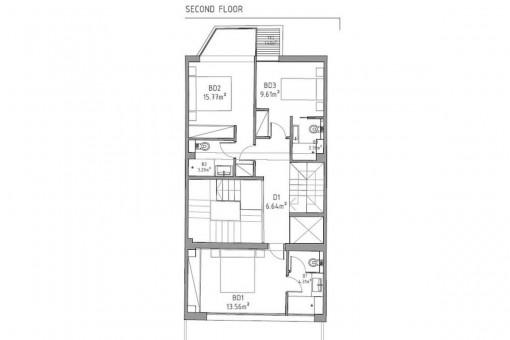 Construction plan of the upper floor