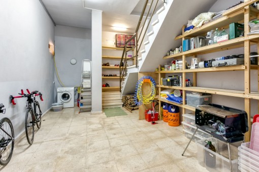 Laundry and storage room in the basement
