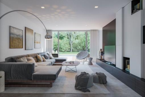 Stylish living area with large sofa