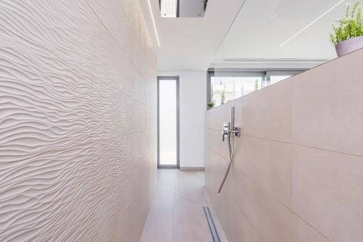 Elegant bathroom with rain shower