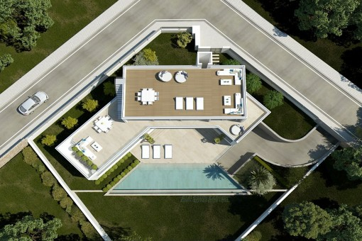 Birds-eye view of the property