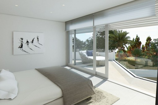 Guest bedroom with access to the balcony