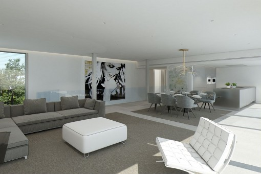Lounge area with large sofas