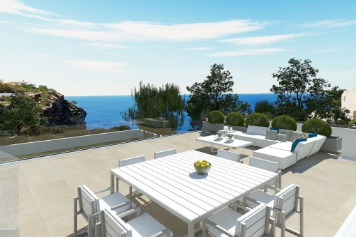 Dining area on the roof top terrace