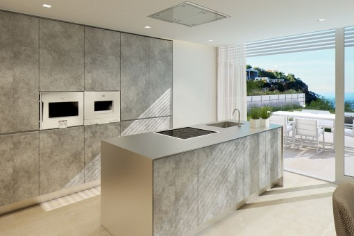 Luxurious kitchen with cooking island