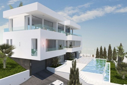 Modern villa with sea views in a central location in Palmanova