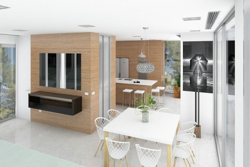 Dining area near the kitchen
