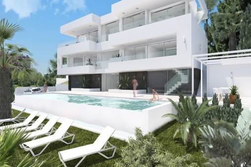 Views of the pool area with sun loungers
