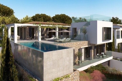 Building plot in Santa Ponsa with a project for a modern villa with sea views