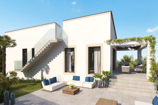 Large terrace with lounge area