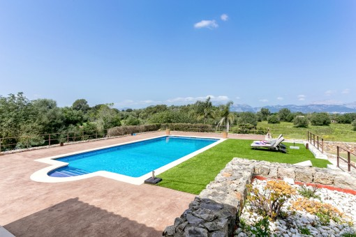 The pool area with heated pool offers a great deal of privacy