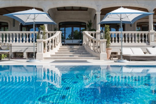 Views to the terrace from the pool