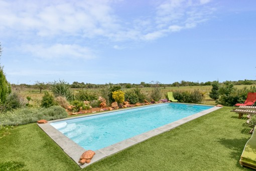 The idyllic pool area offers absolute privacy