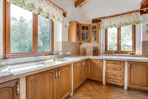 Country style kitchen with wooden cupboards